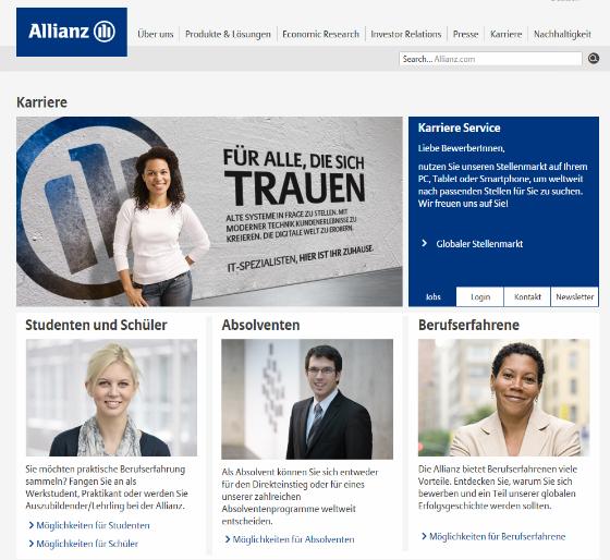Allianz Karriere Webseite