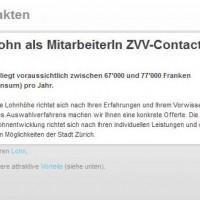 Beitragsbild VBZ Stellenausschreibung mit Lohn