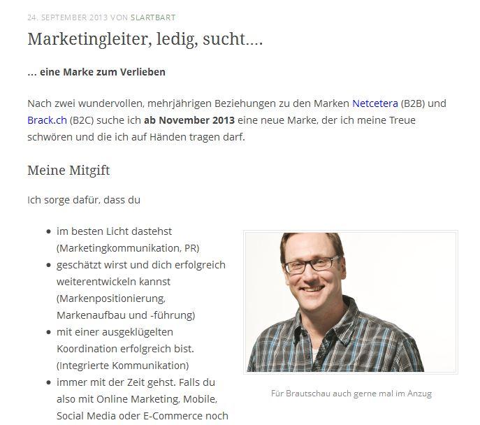 brautschau einmal anders ein schweizer marketingleiter verfasst seine bewerbungsschreiben wie eine online annonce whrend er sich einen gelungenen anfang - Originelle Bewerbung