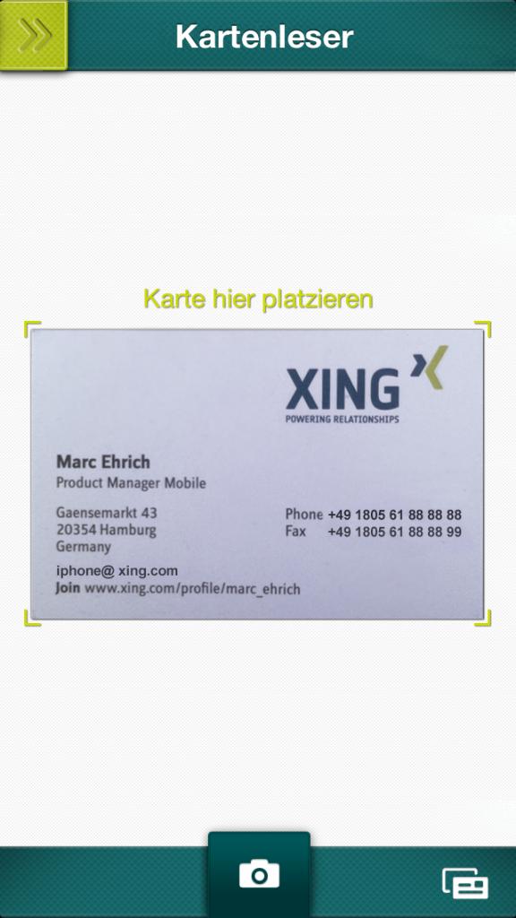 Neue Funktion In Den Xing Apps Visitenkartenscanner